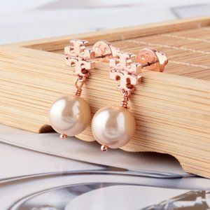 Tory Burch Logo Rose Gold Pearl Earrings